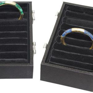 """7.75"""" x 4.25"""" x 3.75"""" Black Velveteen Bangle & Bracelet Case"""