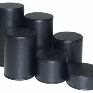 Black Velveteen Round Riser Set of 6 Heights