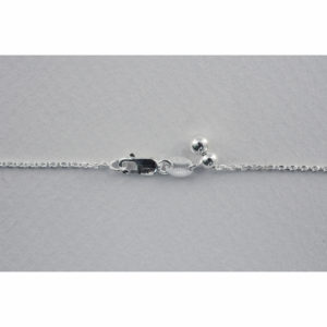 """1.2mm 22"""" Sterling Silver Diamond Cut Adjustable Cable Chain w/Clasp"""
