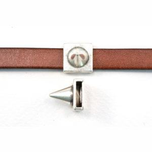 13mm Silvertone Spike Slider Bead