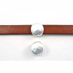 Hammered Silvertone Round Slider Bead
