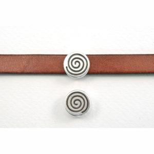 13mm Silvertone Round Coil Slider Bead