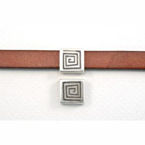 13mm Silvertone Square Coil Slider Bead