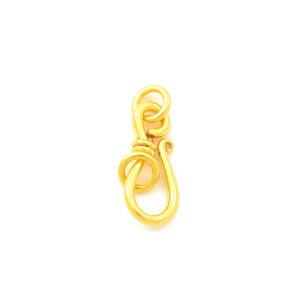 "1-1/16"" 14ga Gold Vermeil Collared S-Hook Clasp"