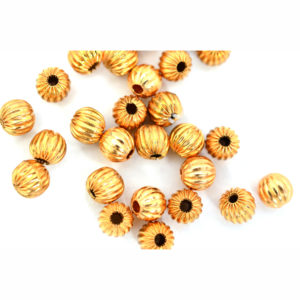 6mm Bright Copper Corrugated Round Bead