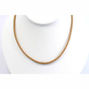 """3mm 18"""" Natural Braided Leather Choker"""