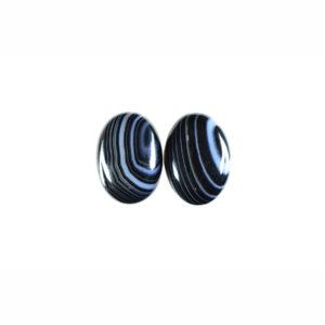 13x18mm Oval Pair Black Stripe Agate Cabochon