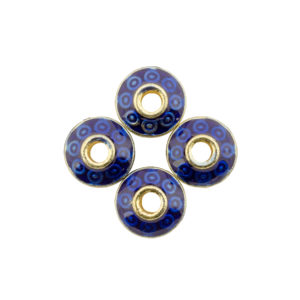 8x8x5mm Gold Plated Blue Cloisonne Rondelle Spacer Bead