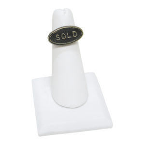 White Leatherette Single Finger Ring Stand