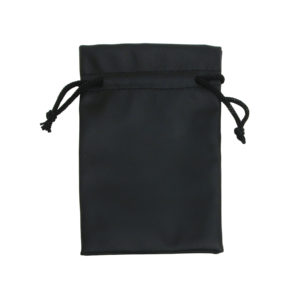 2 x 2in Black Leatherette Drawstring Pouch