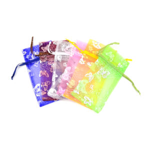 3 x 4in Assorted Butterfly Organza Drawstring Pouch