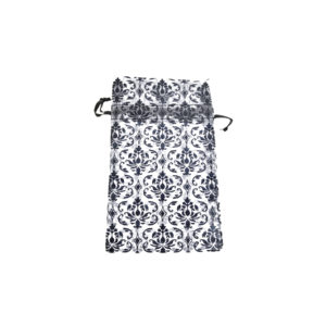 4 x 5in Black & White Damask Drawstring Pouch