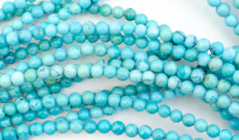 Round Stabilized Blue Chinese Turquoise Bead Strands