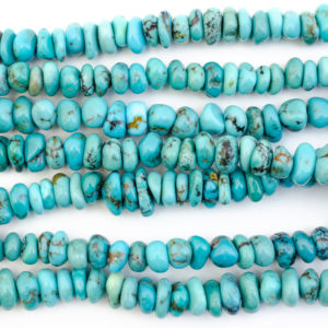 6-7mm Flat Nugget Natural Blue Tibetan Turquoise Bead Strand