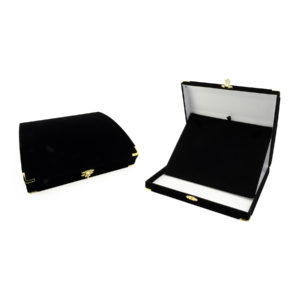 7-1/2 x 6-3/8 x 1-7/8in Black Velveteen White Lined Necklace Box