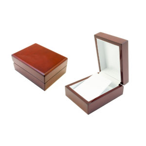 """4""""x3-1/16""""x1-15/16"""" Deluxe Rosewood Earring Box w/Leatherette Interior"""
